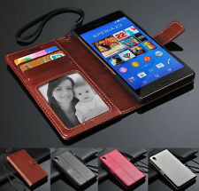Luxury PU Leather Wallet Card Holder Flip Cover Stand Case For Sony Xperia Z3