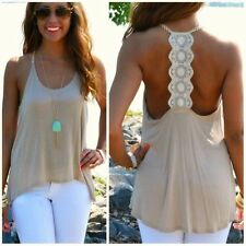 2015 Hot Sale Women Casual Seeveless Backless Loose Lace Vest Top Shirt Blouse
