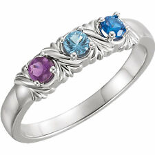 Mother's Day Jewelry Sterling SILVER Mother's Birthstone Ring 1-6 Stones