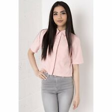 Miss Foxy Ladies Suede High Collared 3/4 sleeved Pink Shirt Crop Top 8 10 12 14