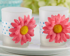 24 CLOSEOUT! Pink Daisy Tealight Candle Holder Sweet 15 16 Bridal Wedding Favor