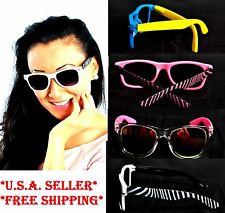 Pink Black White Zebra Striped Reflective Yellow Blue Sunglasses 4th Fourth July