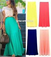 Womens Fashion Bohemia Chiffon Beach Maxi Dress Elastic Waist Long Pleated Skirt