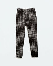 ZARA BLACK AND WHITE CHECK LEGGINGS TROUSERS WITH ZIPS SIZE S,M,L