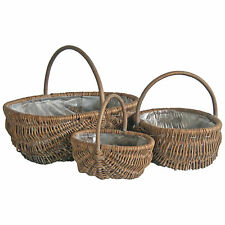 Oval Wicker Willow Basket With Handle Craft Storage Gift Hamper Display 3 Sizes