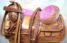 "15"" 16"" Medium PINK Gator Glitter Western Trail Show Horse SADDLE Headstall BP"