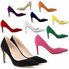 Fashion Pointy Toes Solid Faux Lether Slim High Heels Shoes Party Stiletto Pumps