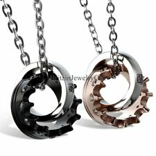 Queen King Crown Rings Pendant His&Hers Stainless Steel Couple Chain Necklaces