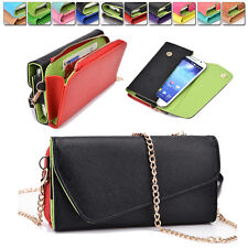 Fashion PU Leather Wallet Case Cover & Crossbody Clutch for Smart-Phones X6UB4