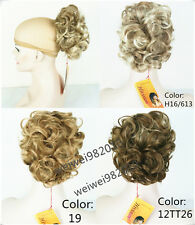 Curly Claw Hair Ponytail Clip-on ,Short Ponytails Brown Mix w/ Blonde highlight