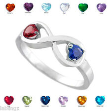 Sterling Silver Infinity Double Heart CZ Birthstone Ring (Size 6)