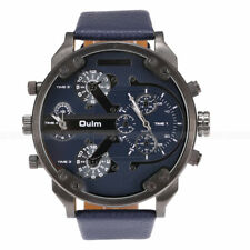OULM Big Dial 2 Time Zone Men's Military Quartz Sport Leather Band Wrist Watch