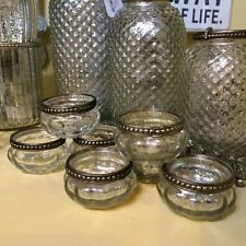 Set Of 4 Pumpkin Silver Rim Mercury Vintage Glass Tea Light Holders Wedding