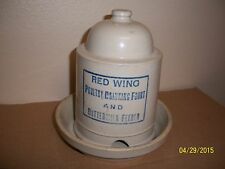 RARE 1 QT RED WING CHICKEN FEEDER WITH BASE