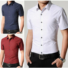 New Men's Summer Casual Fashion Slim Fit Stylish Short Sleeve Dress Shirts D96