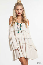 Umgee USA Boho Dress Cream Cold Shoulder Hippie Chic Gypsy Peasant Tunic S,M,L