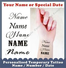 PERSONALISED 20 TEMPORARY TATTOOS INNER WRIST Your Name Words Birthday Number