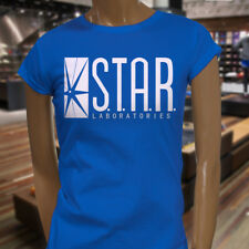 The Flash DC Barry Allen Laboratories Star Labs Womens Blue T-Shirt