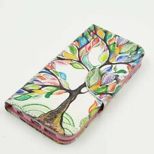 For Various Phones Painting Colorful Tree Wallet Flip Leather Cover Case Stand