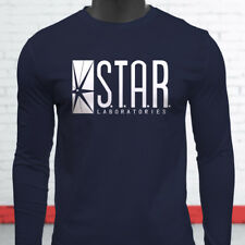 The Flash DC Barry Allen Laboratories Star Labs Mens Navy Long Sleeve T-Shirt