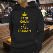 Chive Funny Keep Calm and call Batman Womens Black Hoodie