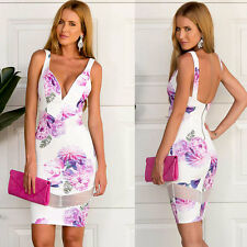Sexy Ladies Floral Party Cocktail Evening Bandage Bodycon Short Dress Size 6-18