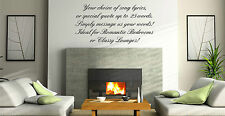 Design Your Own Text Song Lyric Quote 2, Vinyl Wall Art Sticker Decal Custom 99p