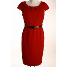 NEW LADIES LOVELY RED FRILL COLLAR BELTED PENCIL DRESS.SIZES 8*10*12*14*16*18