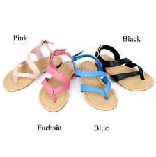 New Girls T Strap Thong Gladiator Strappy Simple Flat Flip Flops Kids Sandals