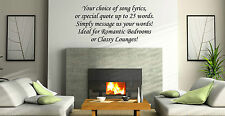 Design Your Own Text Song Lyric Quote 6, Vinyl Wall Art Sticker Decal Custom 99p