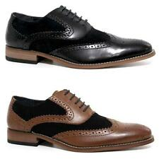 MENS LEATHER SHOES FUNKY JAZZ SPAT OFFICE PARTY FORMAL BROGUE GATSBY SHOES SIZE