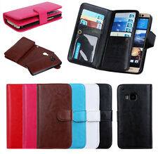 Luxury 9 Card Slot Leather Wallet Case Flip Cover Pouch Skin Fr HTC One M9 Phone