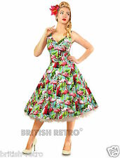British Retro Flamingo Birds Swing Dress *Vintage 50s Rockabilly Party Pin-Up*