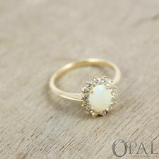 Opal & 1/2 Carat Diamond Ring 14K Gold Green, Yellow Oval