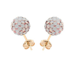 14K Yellow Gold Swarovski Elements Crystal Rose Water Opal Ball Stud Earring