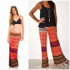 ELAN ZIG ZAG CHEVRON Knit PALAZZO Bell Bottoms CORAL PINK Black CUT TO FIT S-L