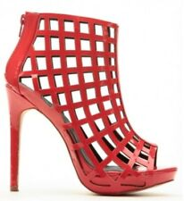 Liliana Black Pink Red Open toe Pump Caged Platform Heel Women's Shoes Trista