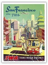 San Francisco California Vintage TWA Airline Travel Art Poster Print