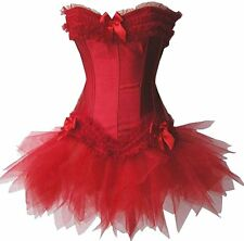 Red Overbust Steel Boned Moulin Rouge Burlesque Corset with Tutu Skirt Dress