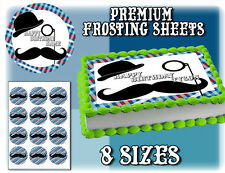 Mustache cake toppers Edible image FROSTING SHEET birthday paper picture easy