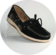 Oneoone women's Flats Slip Moccasin Shoes Loafers Boat Black