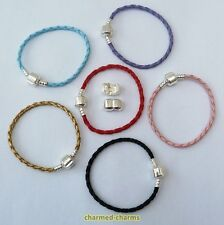 Silver Plated Plain Clasp Faux Leather European Charm Bead Bracelet or Necklace