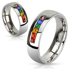 One Stainless Steel Gay Lesbian Pride Rainbow Wedding Band Promise Ring