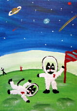 Sparky Original Folk Art Aceo Painting CATS Space Mars: My own planet
