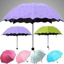Fashion Colorful Anti-UV Parasol Flower 3 Folding Sun/Rain Windproof Umbrella