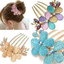 Stunning Crystal Flower Rhinestone Hair Pin Clips Barrette Comb hairpin Bridal