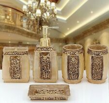Set of 5 Bathroom Accessories Rome Aristocracy Bath Resin Cup Toothbrush Holder