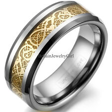 8mm Polish Celtic Dragon Inlay Tungsten Carbide Ring Mens Womens Band Gold Color
