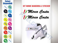 KIT 2 ADESIVI BICI STICKER TUO NOME BANDIERA FLAG NAME BICI CORSA STICKERS MTB