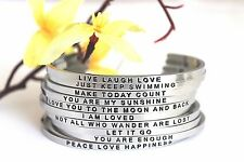 Mantra Band Cuff Bangle Bracelet (NEW SAYINGS AVAILABLE!)